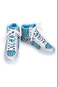 Draven Turquoise Zebra Striped High-Top Sneakers