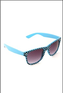 Turquoise And Black Checkerboard Sunglasses